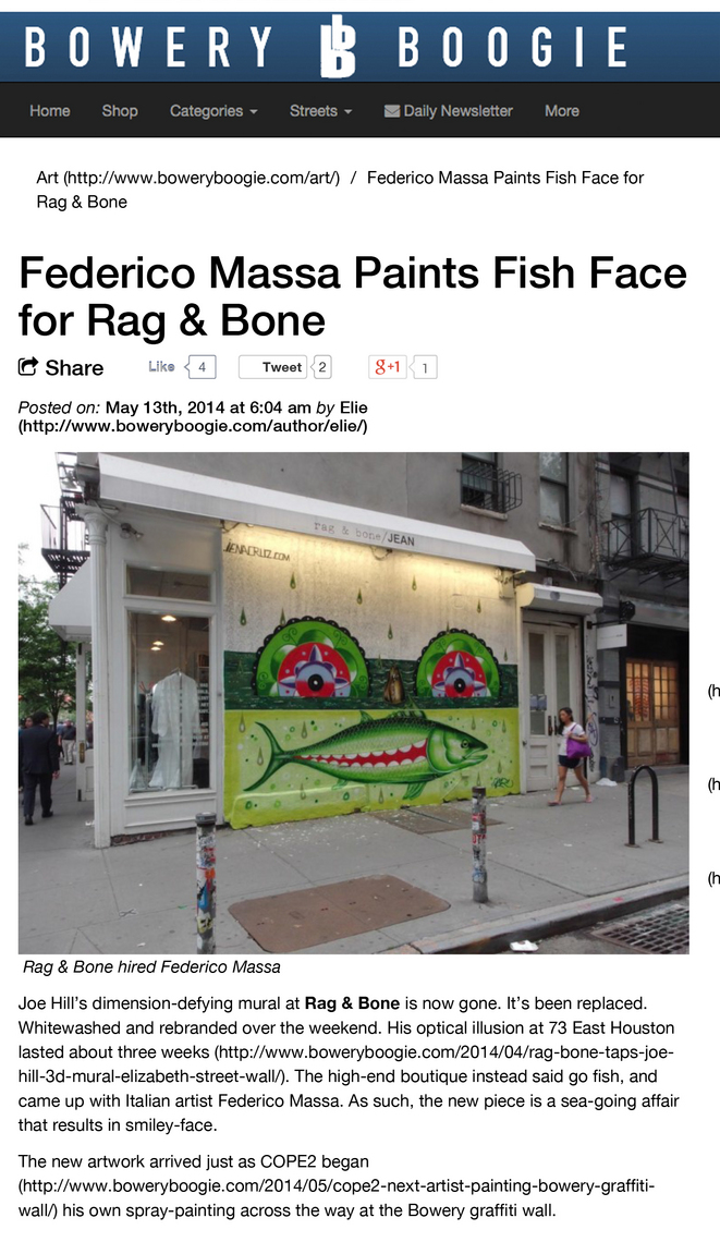 Bowery Boogie - Federico Massa Paints Fish Face for Rag & Bone