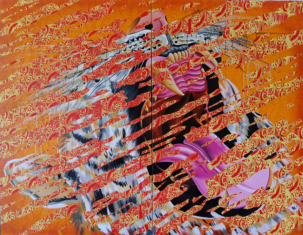 -   Futurism Tiger ,Acrylic paint on canvas, 70 by 100 inches, 2016